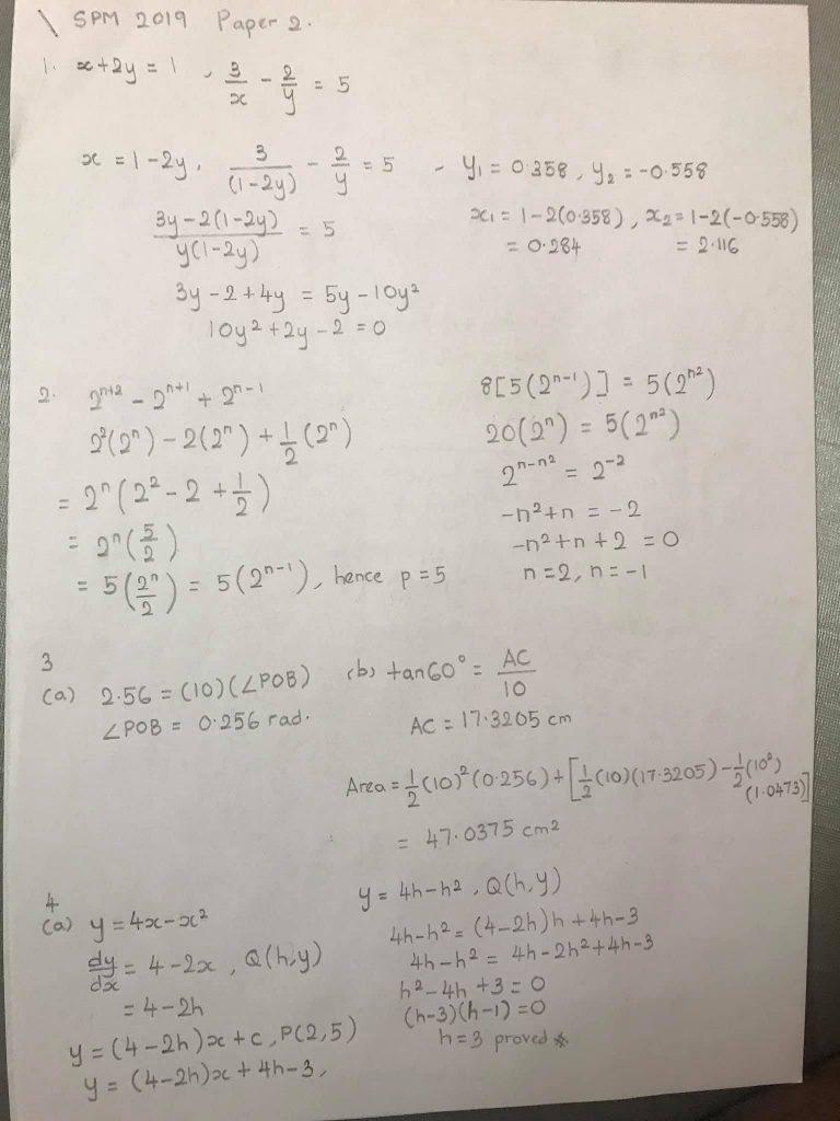 Individu Tunjukkan Jawapan Soalan Add Math Spm2019 Pendidikan4all