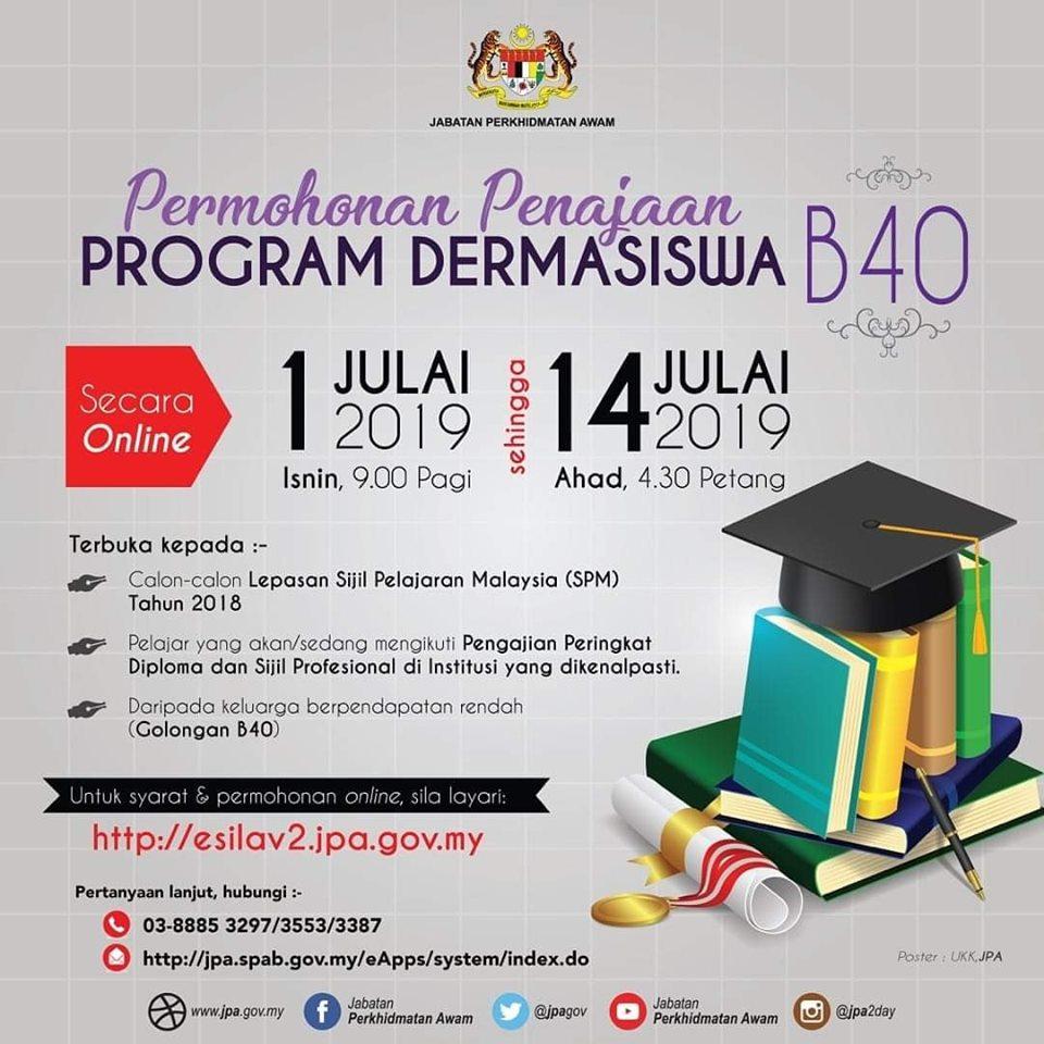 Permohonan Penajaan Program Dermasiswa Jpa B40 Pendidikan4all