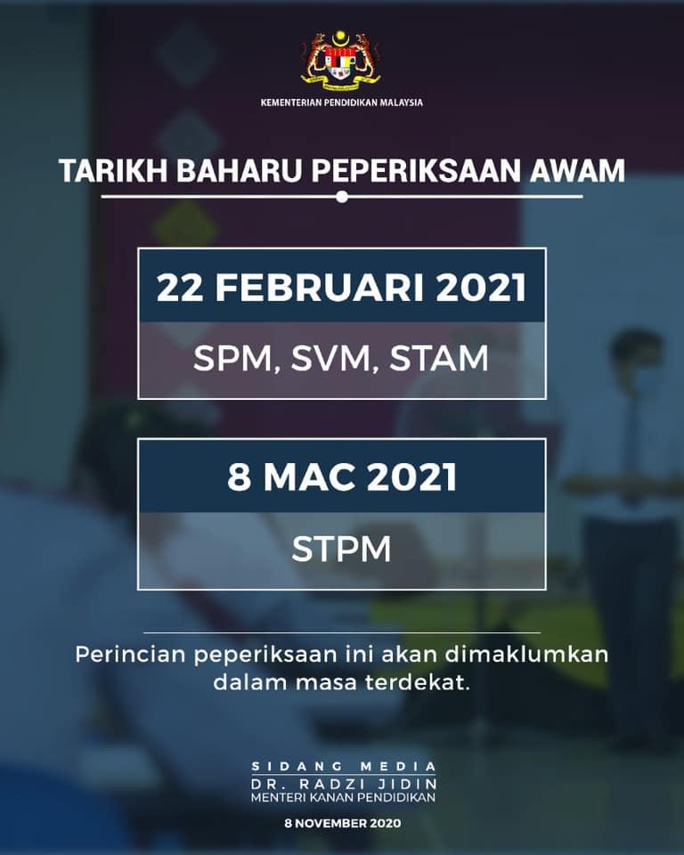 tarikh baru peperiksaan spm, stpm